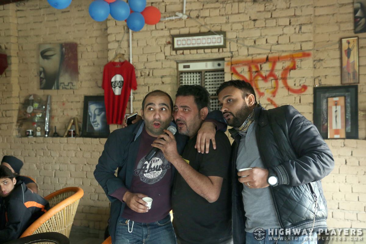 Members of Highway Players with Sarbjeet Singh, owner of Chillax n Relax enjoying a hearty session of karaoke