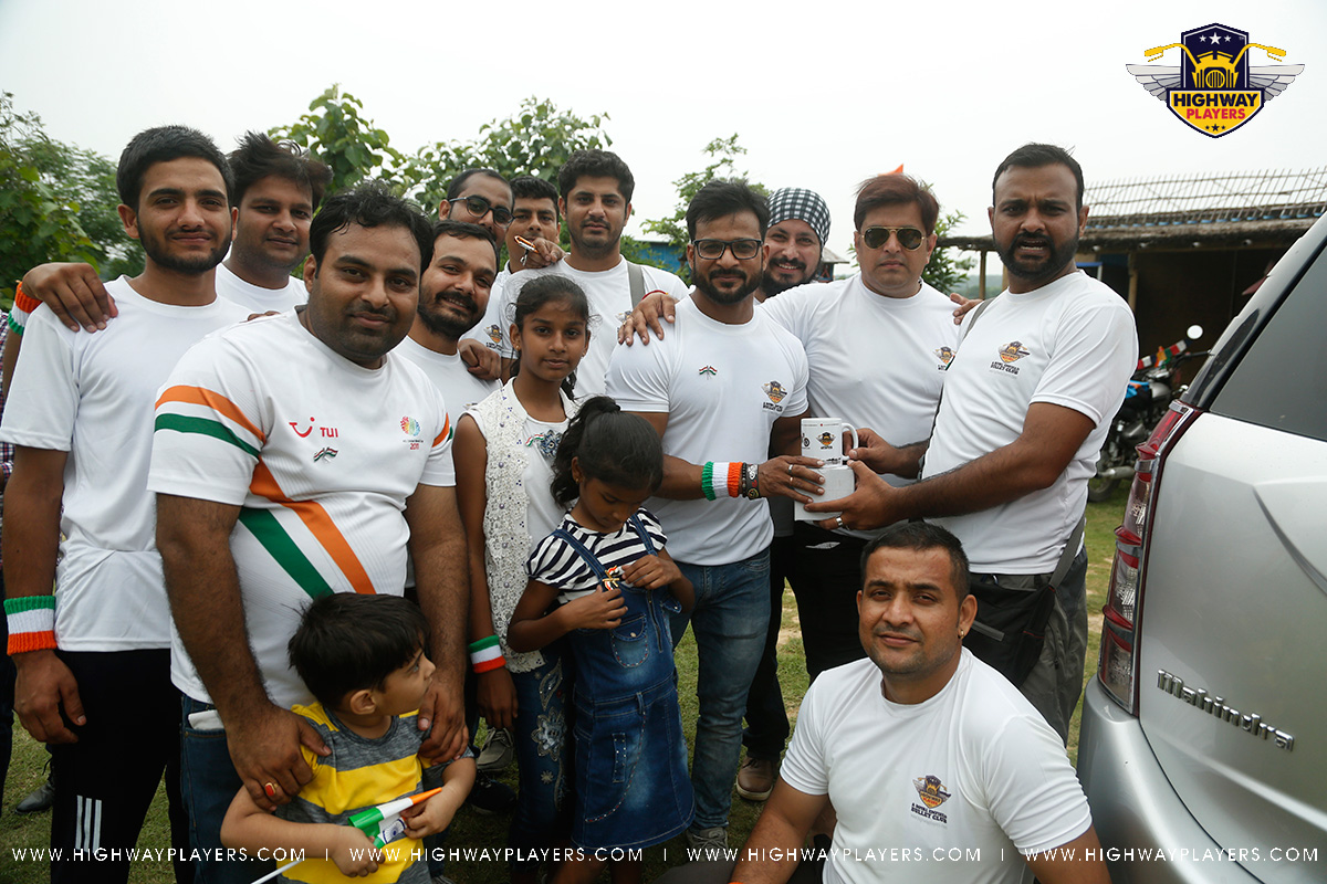 Winner of the Tyre Throw Event Mr. Tarun Kashyap at The Blue Camp during Highway Players Independence Day Ride